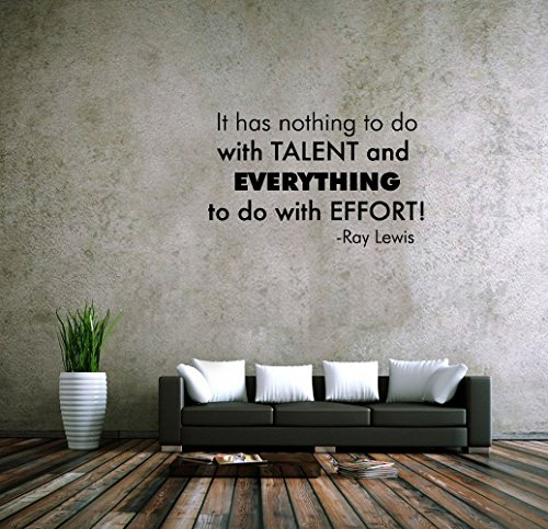 fgdgf It has Nothing to do with Talent and Everything to do with Effort! -Ray Lewis Vinyl Wall Decals Quotes Sayings Words Art Deco Lettering Inspirational -