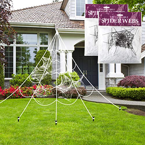 TUPARKA Halloween Giant Spider Web Decoration with 2 Pack Super Stretch Cobweb Set, Triangular Mega Spider Web 16ft/5m for Halloween Party Decor Outdoor Yard -