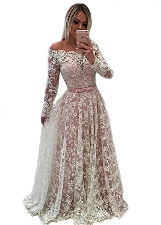 Tsbridal Lace Prom Dress Boat Neck Long Sleeves Prom DressesBlush-US2