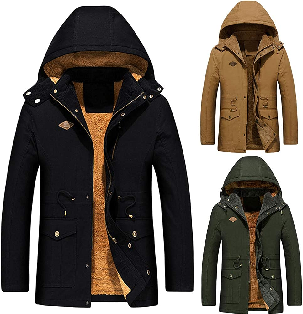AKIMPE Mens Autumn Winter Medium Length Hoodie Thickened Business Cotton Outwear Coat