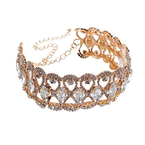Jerollin Collier Femme Fantaisie Ras De Cou Diamant Blanc Chaine Or