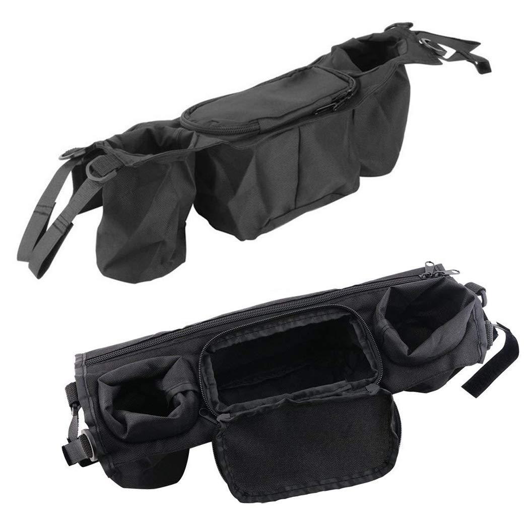liltourist Poussette poussette Sac avec deux porte-gobelets et poches zipp/ées Noir