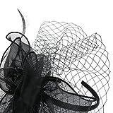 Urban CoCo Women's Bow Feather Net Veil Fascinator