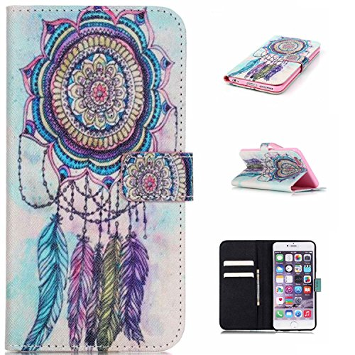 iPhone 6S Plus Case Jenny Shop (Colorful Windbell) Compound PU Leather Cover with Wristlet Strap Build-in Card Slots Stylish Slim Stand Magnetic Closure for Apple iPhone 6S Plus CaseRelease For Sale