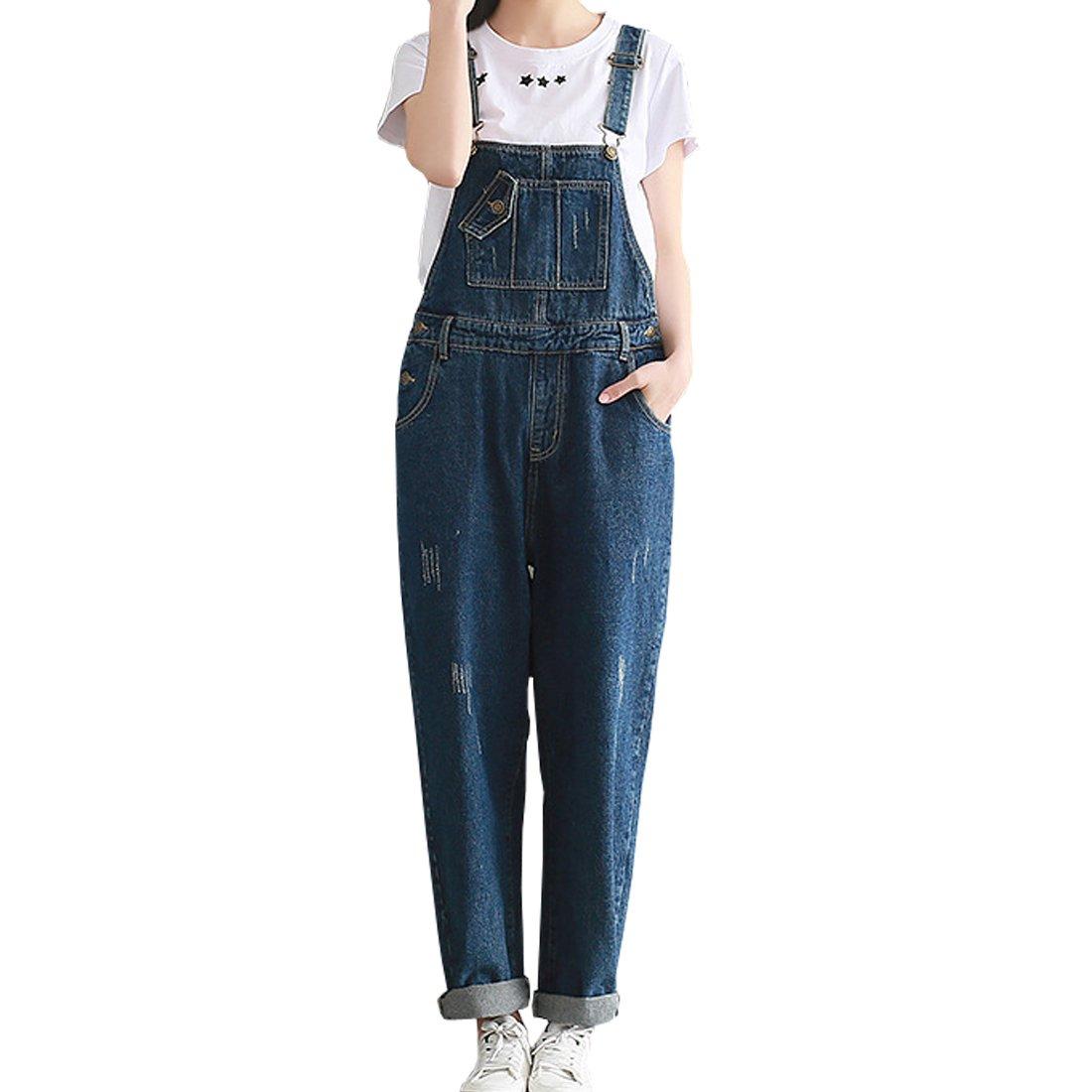 SiDiOU Group Donna Salopette Jeans Pantaloni di tuta di Harem dei pantaloni del denim dei pantaloni del denim delle cinghie casuali delle donne SDO-LT001