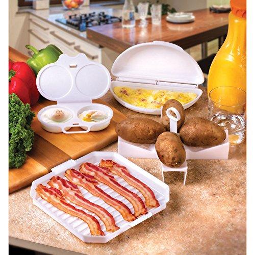 Microwave Breakfast Cooking 4- Piece Set - Egg Poacher, B...