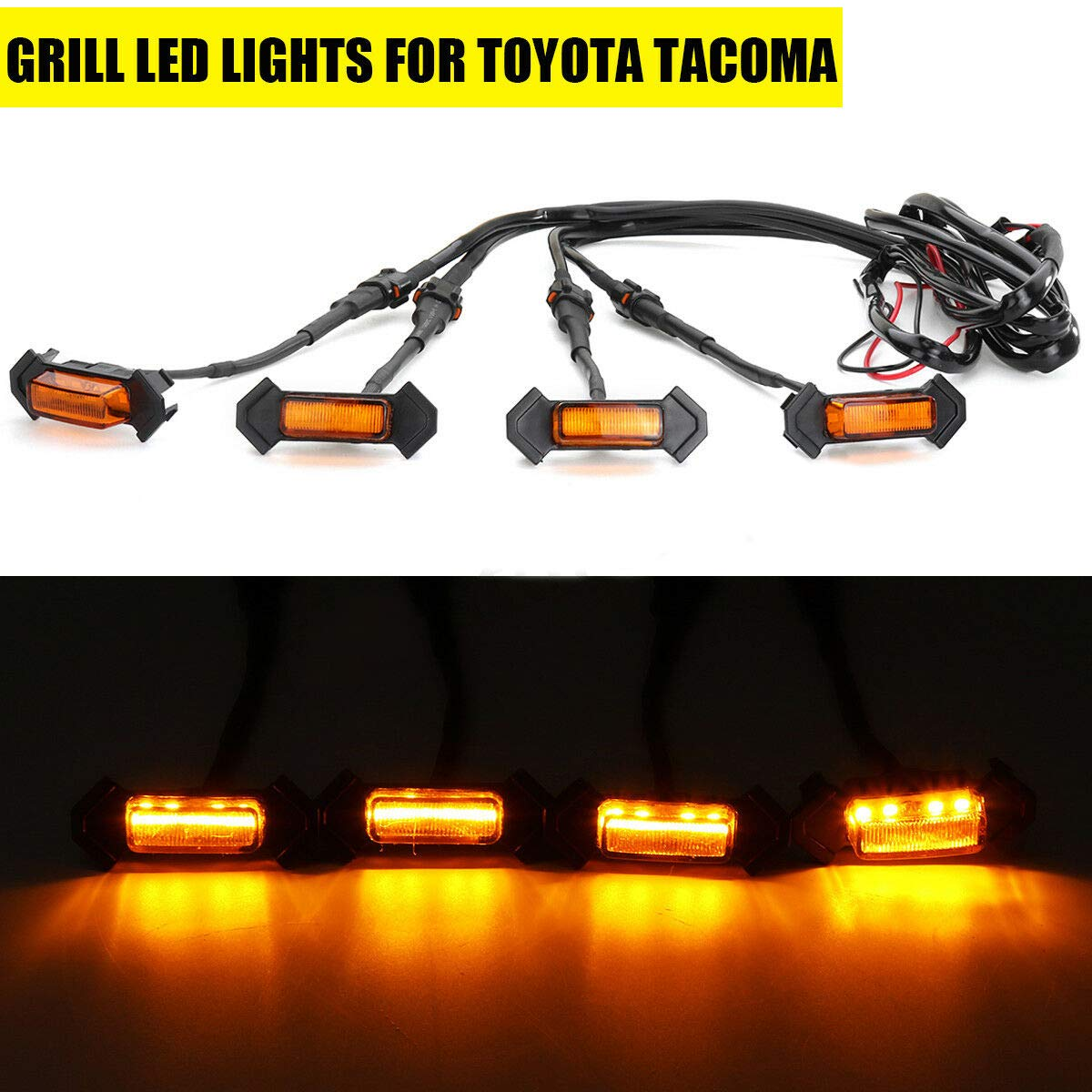 Amber Wisamic 4PCS Front Bumper Hood Grille LED Lights for Aftermarket 2016-2018 Toyota Tacoma TRD PRO Grill