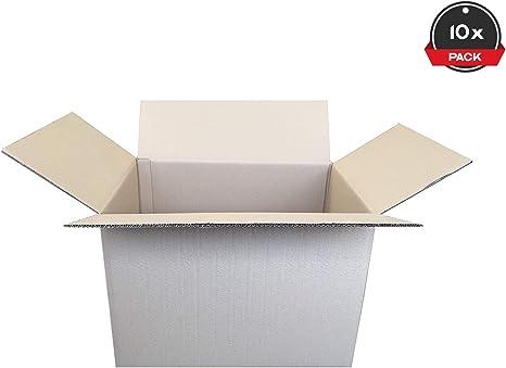 Pack de 10 Cajas de Cartón de Canal Doble y Color Marrón. Tamaño 53,5 x 38,5 x 37,5 cm. Mudanzas. Cajas Grandes de Almacenaje. Fabricadas en España. Cajeando: Amazon ...