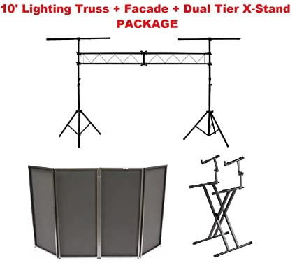 10 Lighting Truss Stage Stand Black DJ Facade Dual Tier Keyboard
