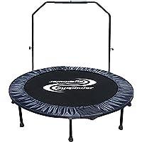 Eyepower Trampolín plegable cama elástica Ø130cm peso soportado max 120kg incl Barra para sujetarse desmontable Funda de seguridad para resortes Negro