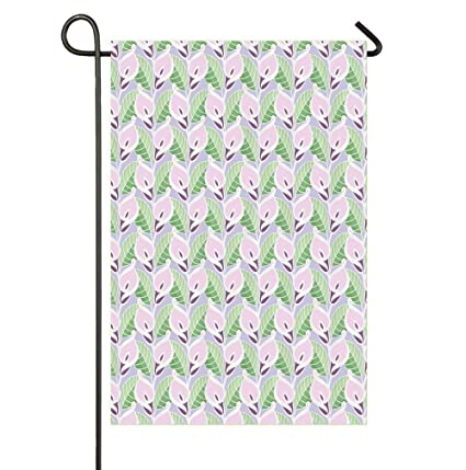 HOOSUNFlagrbfa Pastel Colored Illustration with Repeating Pattern of Exotic Blossoms and Leaves Seasonal Garden Flags Bright