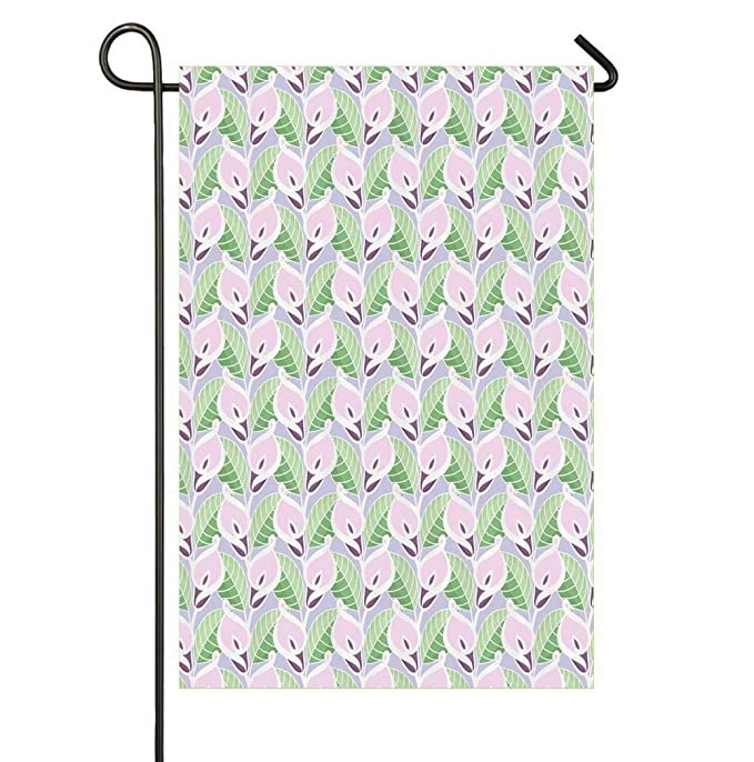 Amazon.com : HOOSUNFlagrbfa Pastel Colored Illustration with Repeating Pattern of Exotic Blossoms and Leaves Seasonal Garden Flags Bright and Shine Small ...