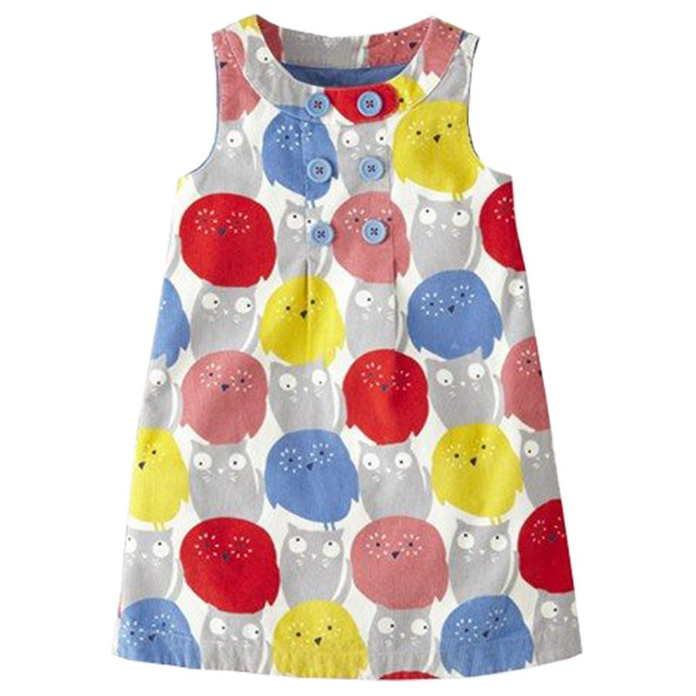 HILEELANG Little Girls Cotton Dress Sleeveless Casual Summer Sundress Flower Printed Jumper Skirt