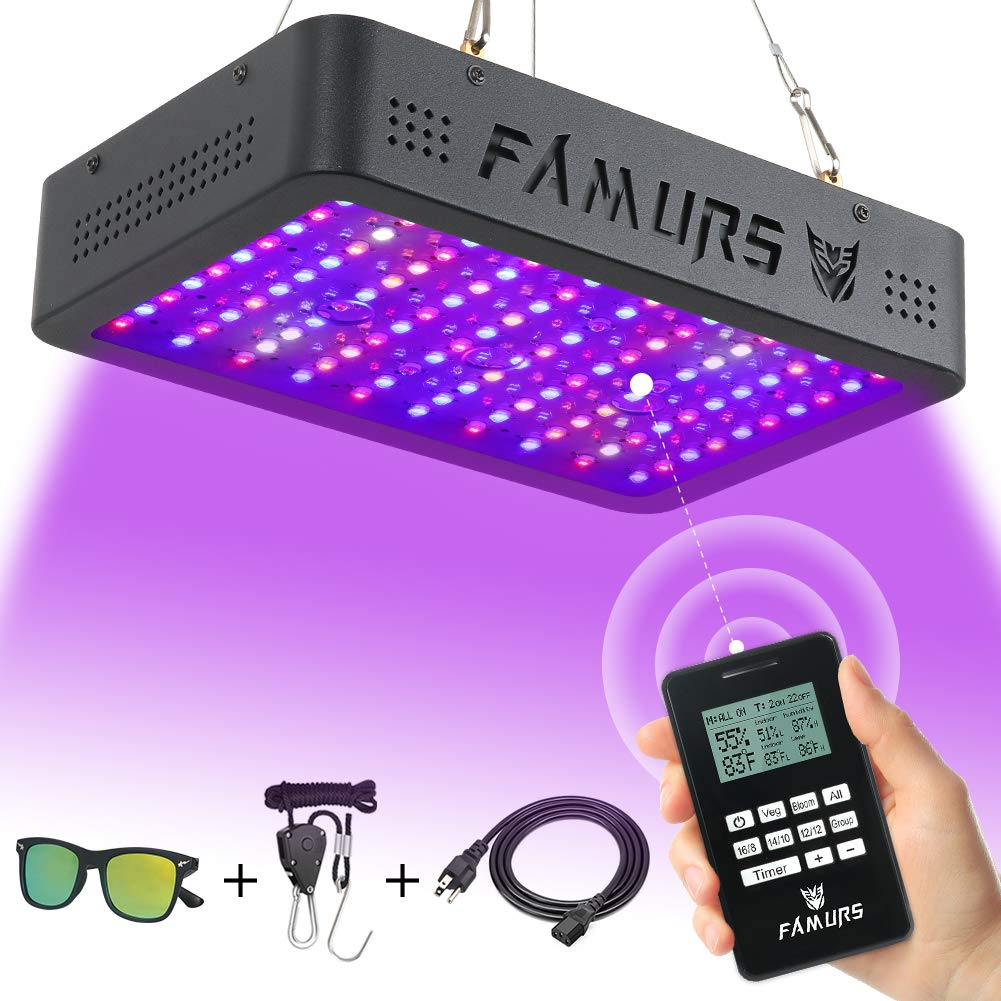 FAMURS 1000W LED Grow Light, Remote Control-Series Grow Lamp with Timer/Thermometer Humidity Monitor and Adjustable Rope,Full Spectrum Plant Light for Indoor Plants Seeding Veg and Flower by FAMURS