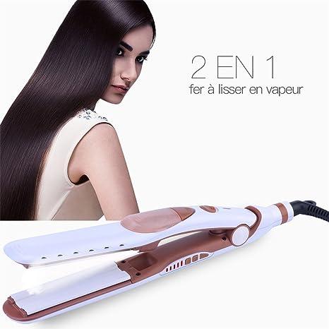 Plancha de Pelo Vapor, 2 en 1 Multifunción Planchas para el pelo Profesionales, Placa
