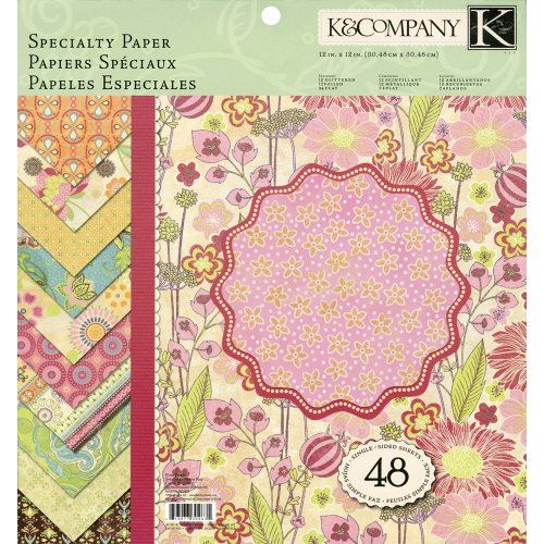 Pad Tag & Company K (K&Company 12-by-12-Inch Specialty Paper Pad, Pink Posey, 48-Sheet)