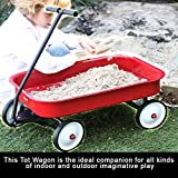 Portable Wagon For Kids Boys Girls Indoor Outdoor Beach Sand Small Toy Utility Playing Carrying Cart 4 Wheeled Gift Basket Safe T Design Comfortable Pull Handle Durable Seamless Steel For Toddlers Red