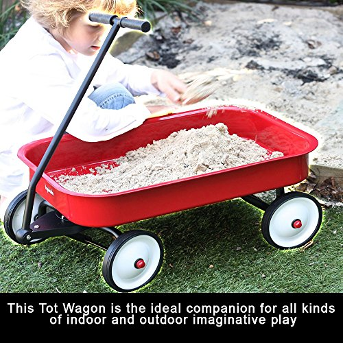 Portable Wagon For Kids Boys Girls Indoor Outdoor Beach Sand Small Toy Utility Playing Carrying Cart 4 Wheeled Gift Basket Safe T Design Comfortable Pull Handle Durable Seamless Steel For Toddlers Red by Indipartex