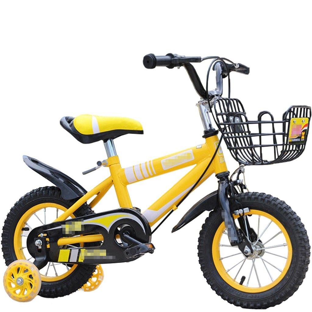 KANGR-子ども用自転車 子供の自転車マウンテンバイクに適した2-3-6-8ボーイズとガールズ子供用おもちゃのハンドルバー/サドルの高さはフラッシュトレーニングホイールで調節可能-12 / 14/16/18インチ ( 色 : イエロー いえろ゜ , サイズ さいず : 18 inches ) B07BTY91KZ 18 inches|イエロー いえろ゜ イエロー いえろ゜ 18 inches