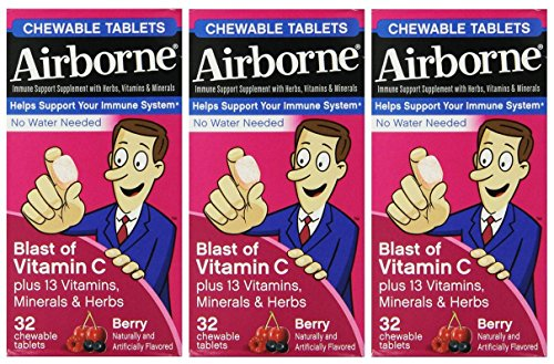 Airborne Immune Support, Berry, Chewable Tablets, 32 CT (PACK OF 3) Review