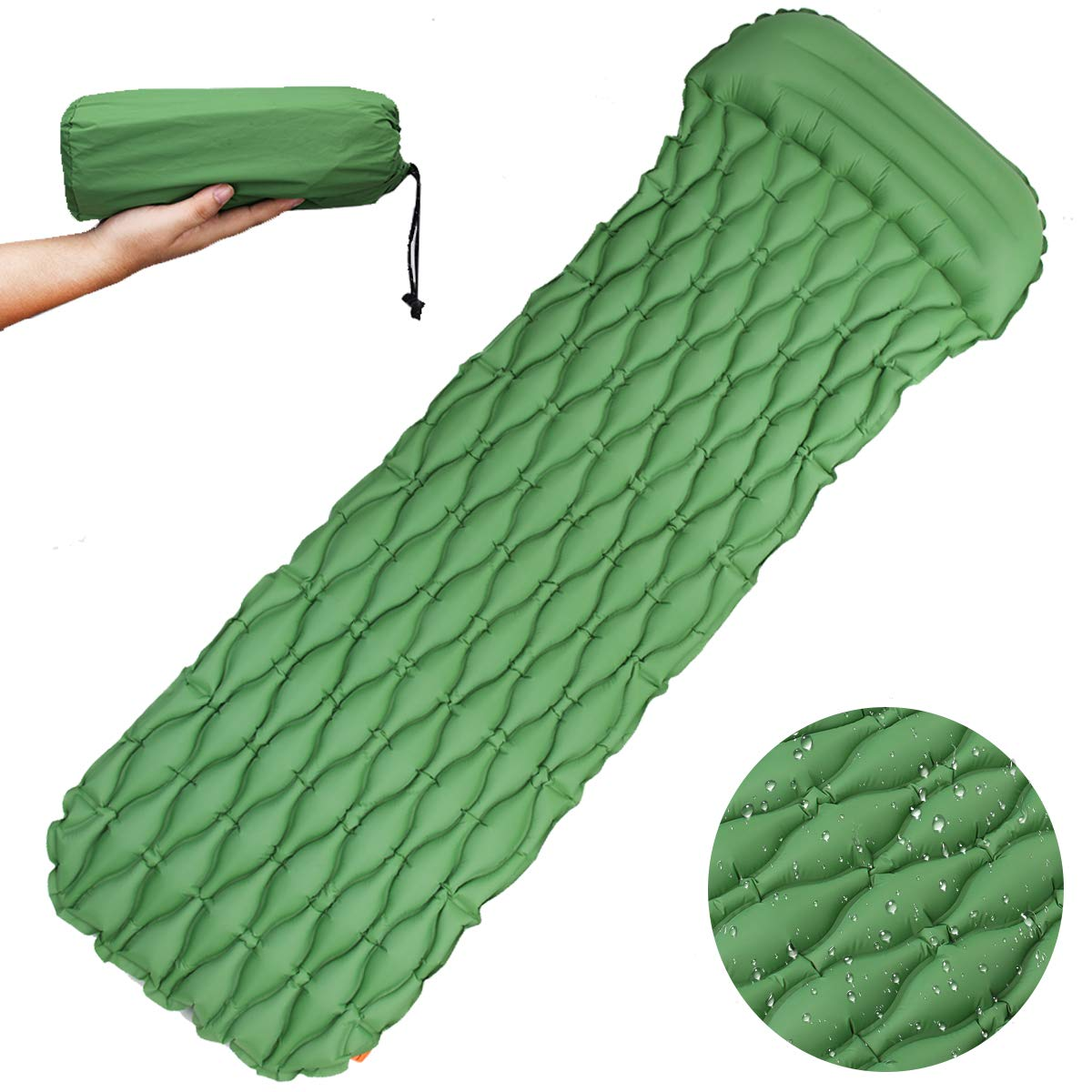 Hiking Compact Lightweight Camp Mat for Camping Durable Backpacking No Air Pumps Needed Air Mattress with Pillow couldcot CLOUDCLOT Self Inflating Sleeping Pad Easy Inflation Camping Mat