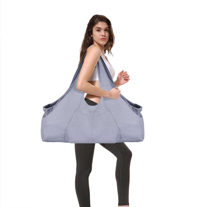 Large Yoga Mat Bag SKL Yoga Mat Tote Sling Carrier with Large Side Pocket & Zipper Pocket, Yoga Mat Holder Fits Most Size Mats