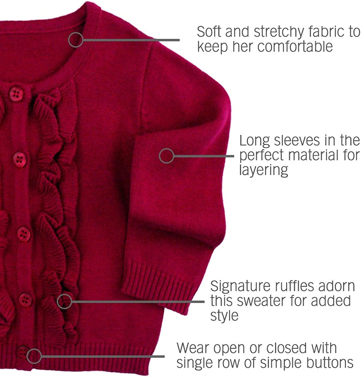 RuffleButts Baby//Toddler Girls Ruffled Long Sleeve Cardigan Button-Up Sweater