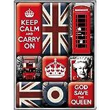 """Unbekannt - Set 9 di calamite per frigorifero del Regno Unito: """"Keep Calm"""", """"God Save the Queen"""", bandiere, corona rétro, cabina telefonica"""
