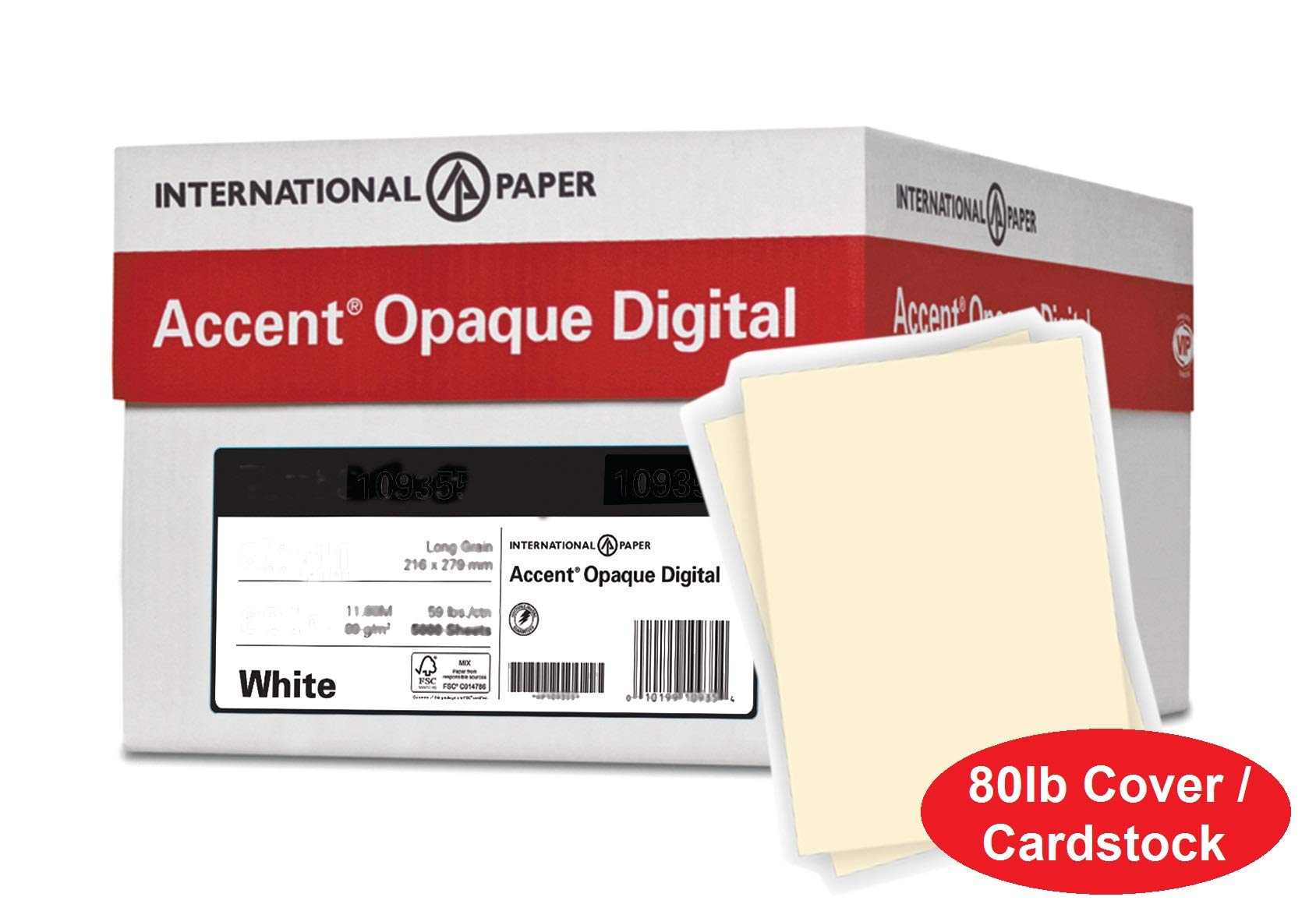 Accent Opaque Thick Cardstock Paper, Warm White Paper, 80lb Cover, 216 gsm, 8.5x11, 97 Bright, 8 Reams / 2,000 Sheets - Super Smooth, Heavy Card Stock (121978C) by Accent