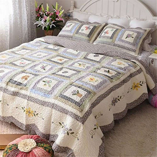 Jameswish 100% Cotton Gorgeous Quilt Sets American Printing Floral Patchwork Bedspread Reversible Washed Comforter Including 1Quit 2Pillowshames King Queen (Gorgeous Printing)