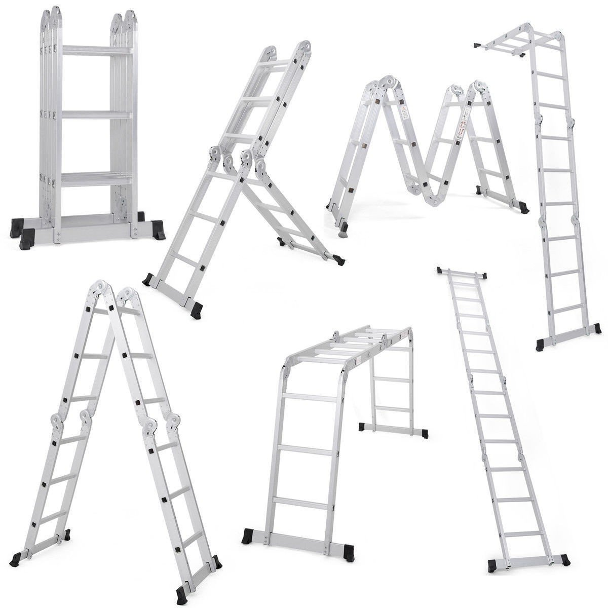 Custpromo 12.5FT EN131 Heavy Duty Multi Purpose Folding Step Ladder Multi Purpose Folding Aluminum Extendable Scaffold Ladder with Safety Locking Hinges 330lb Capacity