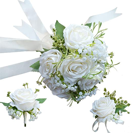 2PCS Wrist Corsage Boutonniere White Rose Many colors Sets Or Can Special Order