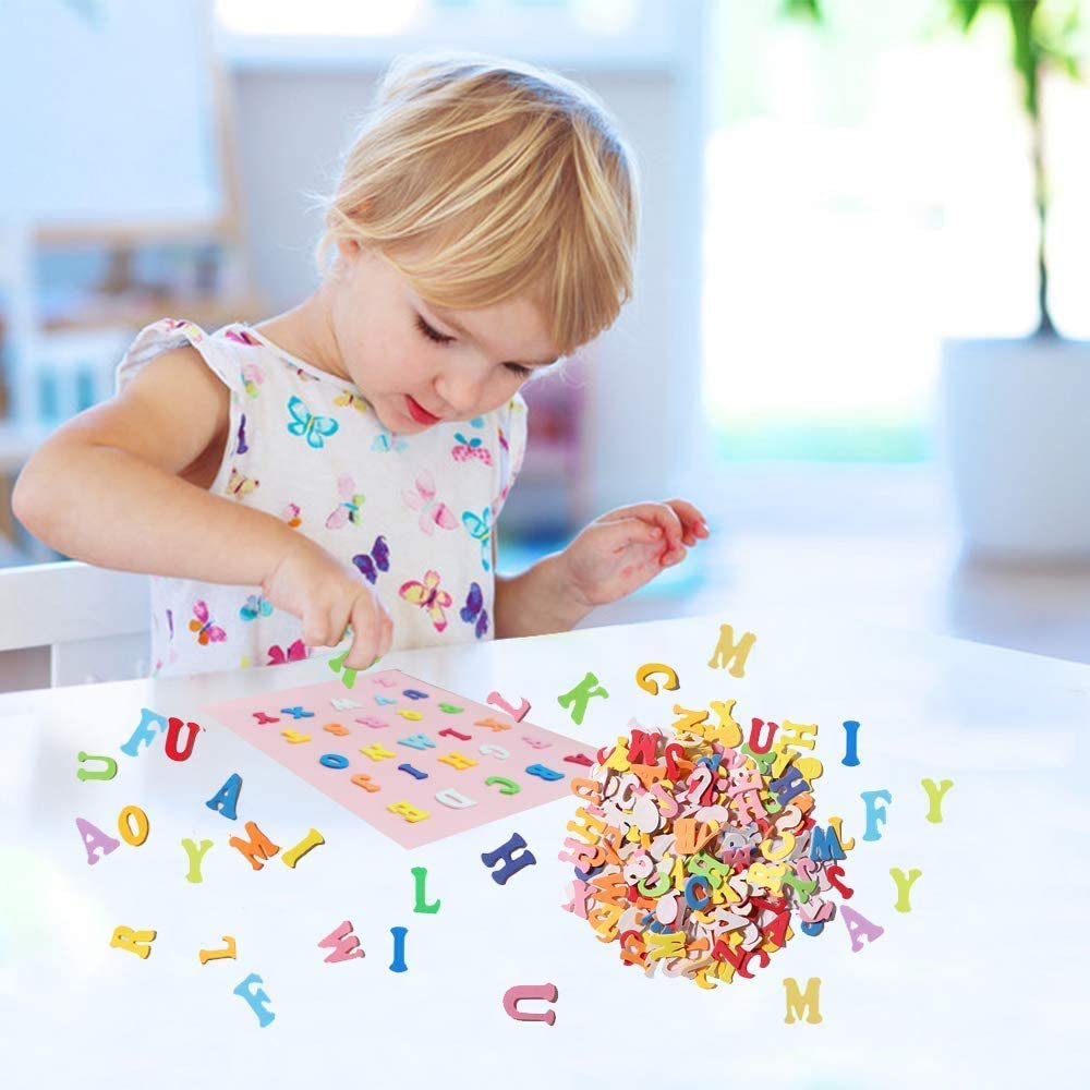 Room Decoration,Multicolored ONEETIS 1000PCS Foam Letter Stickers EVA Self-Adhesive Foam Letters Stickers for Childrens DIY Crafts