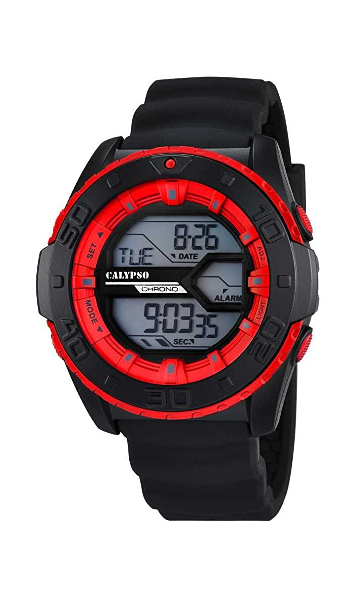 Calypso Digital - Reloj de cuarzo para hombre, correa de plástico color negro