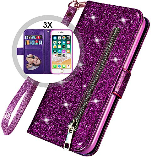 (iPhone 8 Plus Case Wallet,iPhone 7 Plus Wallet Case with Strap for Women,Auker 3 Card Holder Folio Flip Bling Glitter Leather Folding Stand Magnetic Slim Purse Case with Zipper/Money Pocket (Purple))