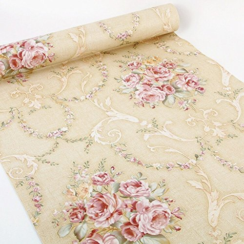 Vintage Rose Wallpaper - Vintage Rose Floral Decorative Contact Paper Self Adhesive Shelf Liner Peel and Stick Wallpaper for Kitchen Cabinets Drawers Shelves Countertops Windows Walls Crafts 17.7