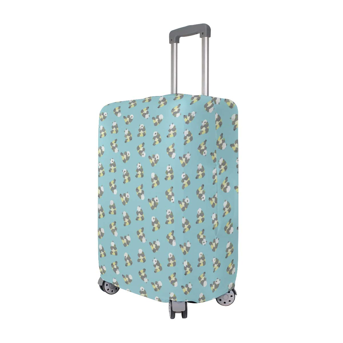 Cute Pandas Eat Bamboo Blue Travel Suitcase Protector Zipper Suitcase Cover Elastic