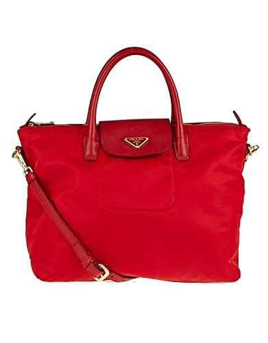 cc466ef512ad Amazon.com: Prada Women Tessuto Saffiano Shopping Bn2541 Red Nylon Tote:  Shoes