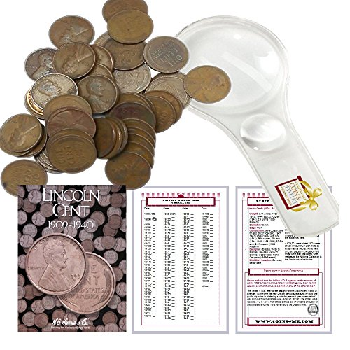 Wheat Penny Collectors (Lincoln Wheat Penny Starter Collection Kit, Part One, H.E. Harris [2672] Lincoln Cent Folder Vol. 1, One Roll of Wheat Cents, Magnifier and Checklist, (4 Items) Great Start for Beginner Collectors)