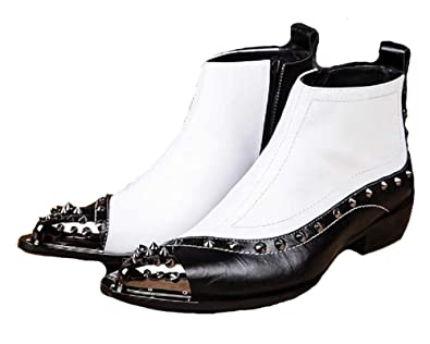 882aa01d665ac Cover Plus Size 5-12 Two Tone Genuine Leather Side Zipper Ankle Boots Steel  Pointed