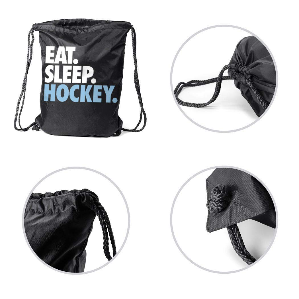 ChalkTalkSPORTS Hockey Sport Pack Cinch Sack Eat Sleep Hockey Black