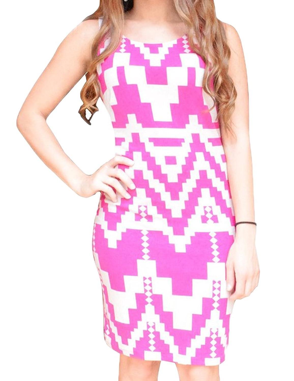 Peach Couture Stylish Geometric Pattern Open Back Tank Mini Party Dress Magenta