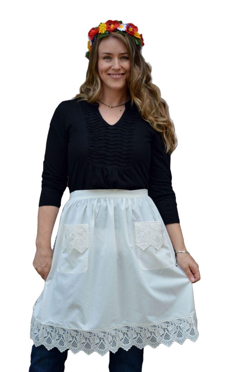 Amazon.com: Deluxe Lace Victorian Maid Costume Ladies Half White ...