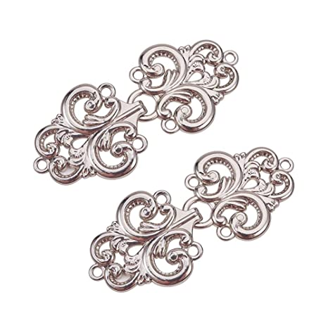TiaoBug 5 Pairs Retro Flower Filigree Cape or Cloak Clasp Fasteners Clip Sew On Hooks and Eyes Cardigan Clip Type A Silver One Size