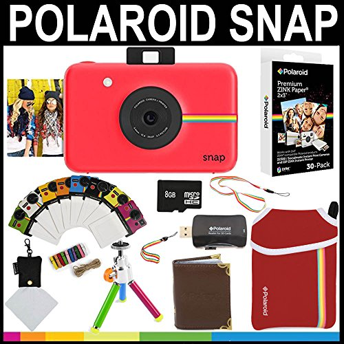 Polaroid Snap Instant Camera (Red) + 2x3 Zink Paper (30 Pack) + Neoprene Pouch + Photo Frames + Photo Album + 8GB Memory Card + Accessory Bundle by Polaroid