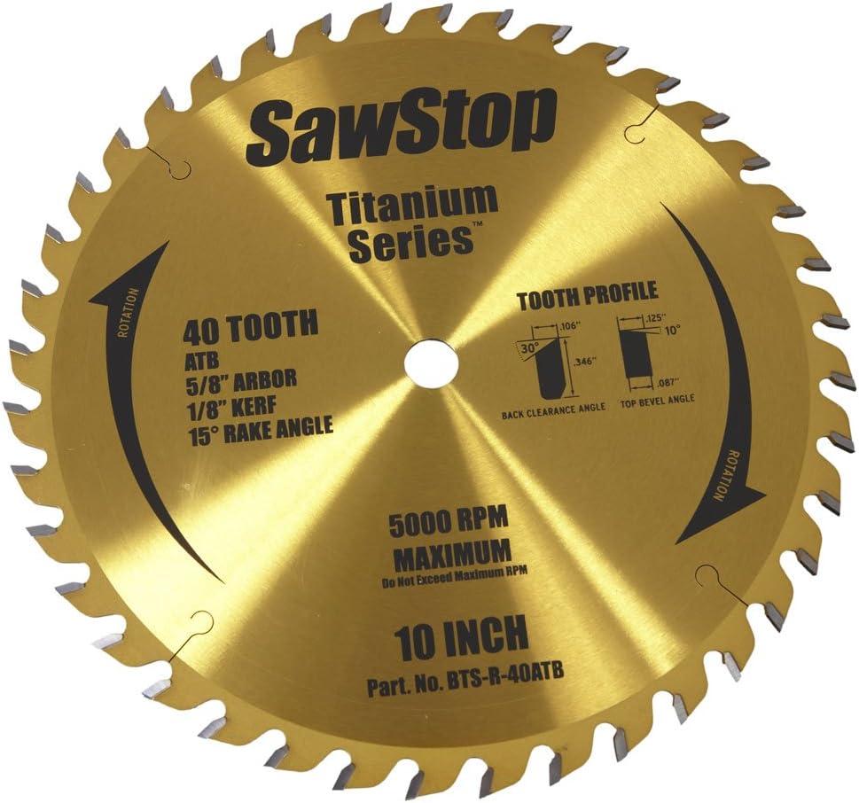 "SawStop BTS-R-40ATB 40-Tooth Titanium Series Premium Woodworking Blade, 10"" with 5/8"" Arbor"