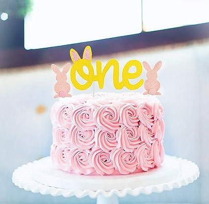 Amazon.com: Juego de 5 adornos para tarta de 1 cumpleaños ...
