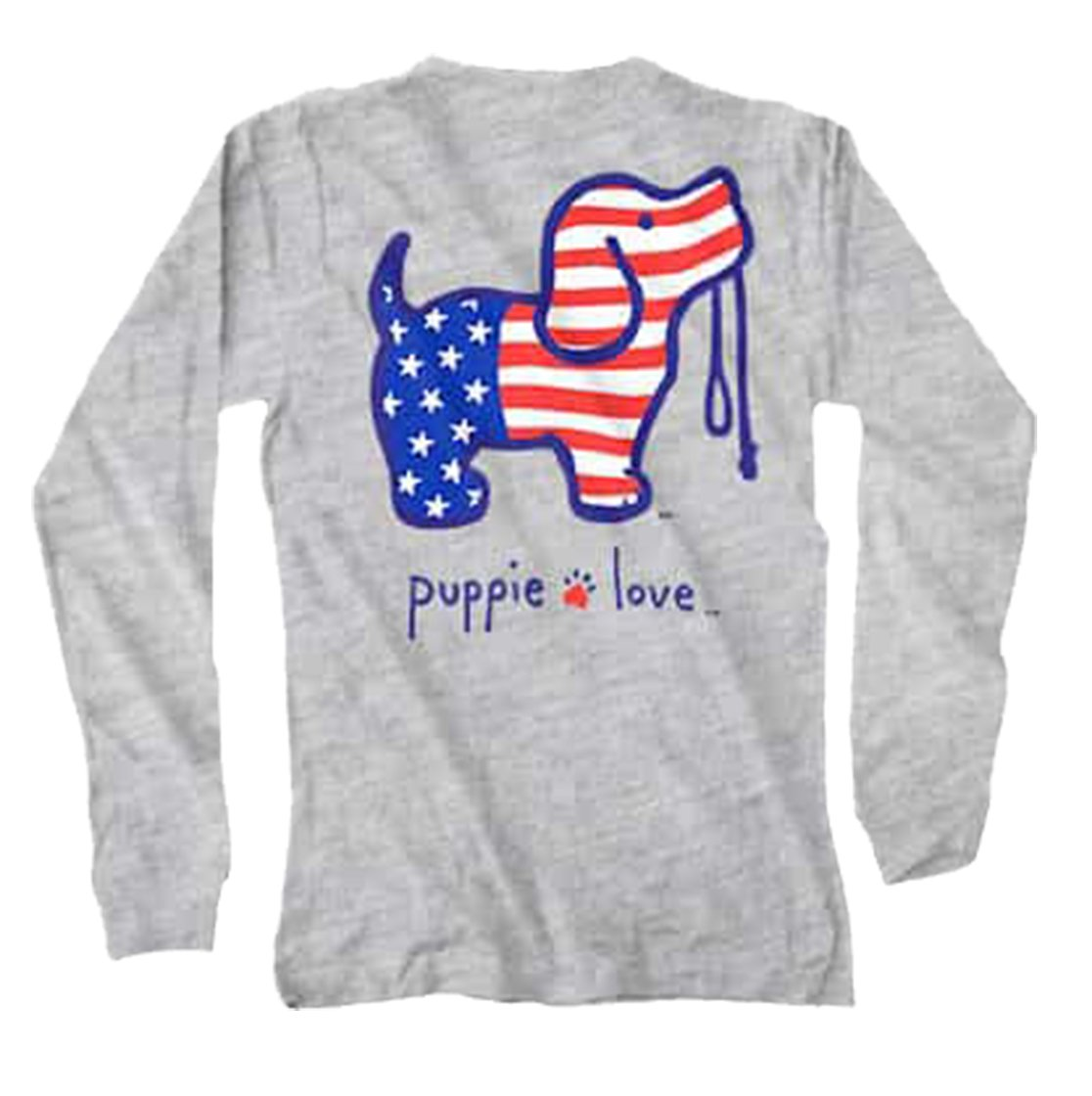 Puppie Love Youth USA Pup Pup Help Rescue Dogs Long Sleeve Tee-Youth Large