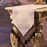 Yoovi Luxury Table Runners with Beads Multi Tassels Table runners Decoration Beige with Purple Flowers (12'' x 94'')