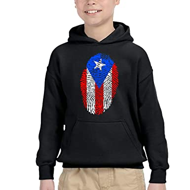 Toddler Boys Girls Pullover Hoodie Fleece Puerto Rico Flag Fingerprint Sweatshirt